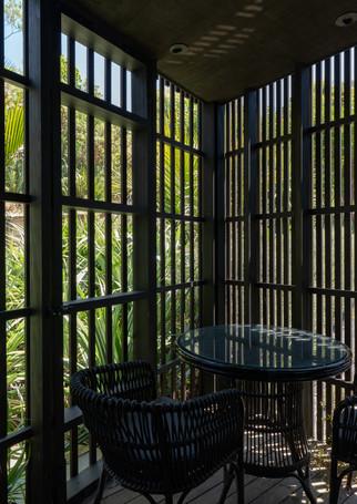 waiheke island lantern house holiday rental accomodation - bedroom balcony design herbs architects