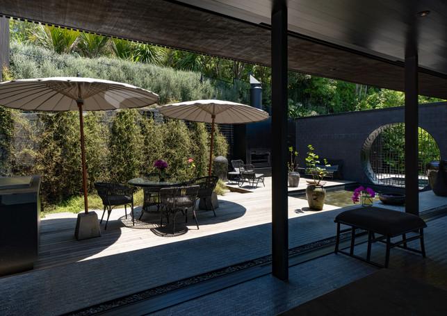 waiheke island lantern house holiday rental accomodation - courtyard herbst architects design