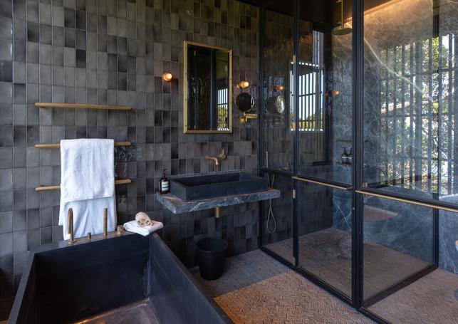 waiheke island lantern house holiday rental accomodation - master bathroom interior design new zealand