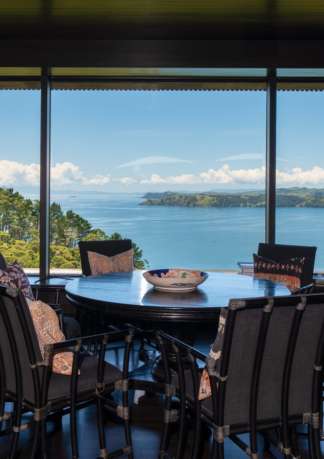 waiheke island lantern house holiday rental accomodation - dining room design sea view