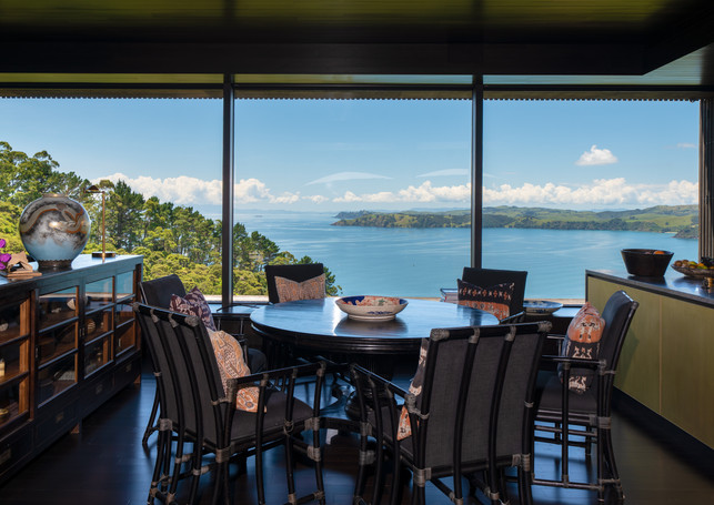 waiheke island lantern house holiday rental accomodation - dining room design sea view