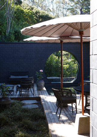 waiheke island lantern house holiday rental accomodation - deck eastern asian design outdoor living