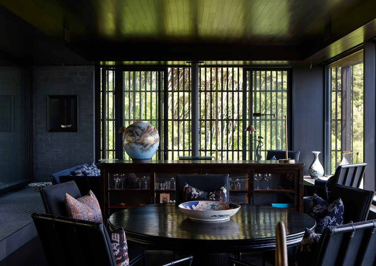 waiheke island lantern house holiday rental accomodation - interior deisign teak eastern asian inspired