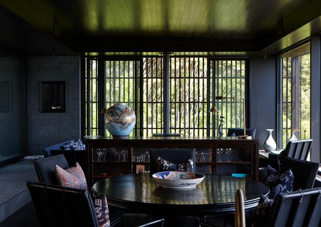 waiheke island lantern house holiday rental accomodation - interior deisign teak eastern asian inspired