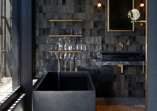 waiheke island lantern house holiday rental accomodation - bathroom marble granite interior deisng new zealand