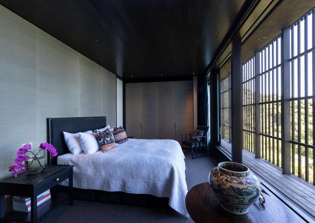 waiheke island lantern house holiday rental accomodation - master bedroom design sea view nature new zealand