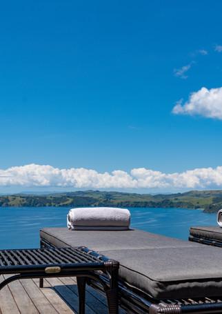 waiheke island lantern house holiday rental accomodation - sundeck sunbeds ocean tanning