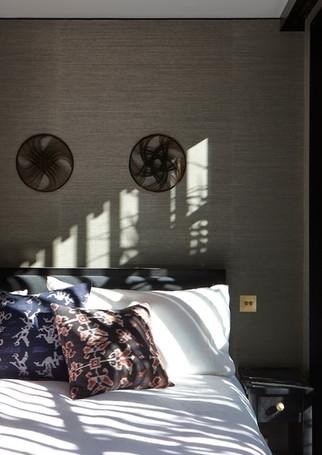 waiheke island lantern house holiday rental accomodation - super king bed asian eastern insipired design herbst architects ashley & co