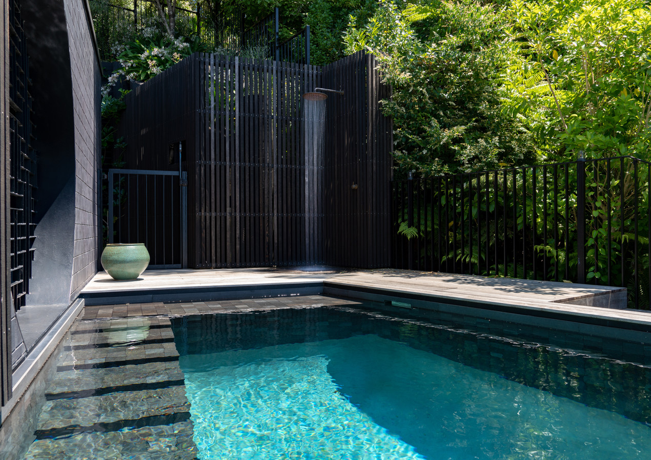 waiheke island lantern house holiday rental accomodation - outdoor shower pool nature