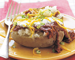 What's Cookin' Wednesday-- Baked Potatoes Stuffed W/ BBQ Chicken