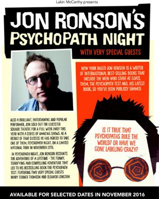 Jon Ronson's 'Psychopath Night'