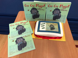 Books and cake at launch - Go Go Pogo