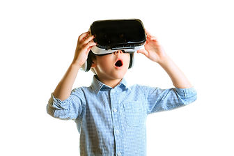 Children experiencing virtual reality is