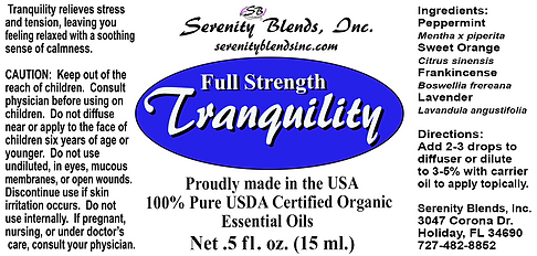 Label 15 ml Tranquility full strength 2.