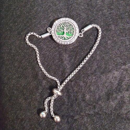 Tree Of Life silver adjustable aromatherapy bracelet