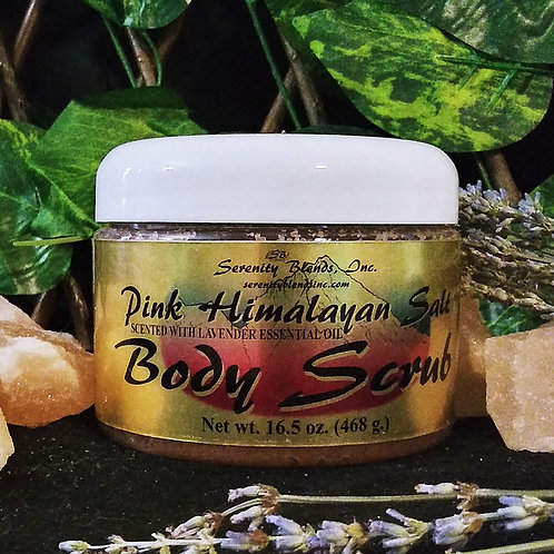 Pink Himalayan Salt Body Scrub 16.5 oz. Scented with Lavender