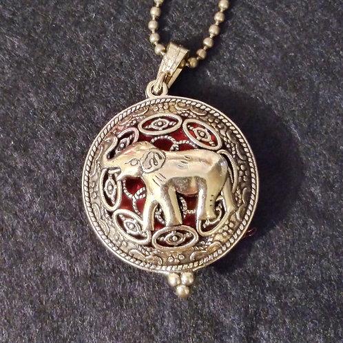 Elephant antique brass aromatherapy necklace