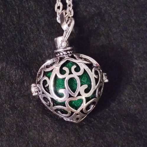 Heart Shaped Scroll ball aromatherapy necklace