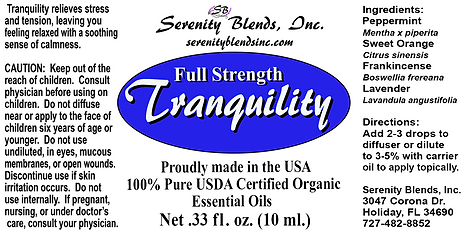 Label 10 ml Tranquility full strength 2.