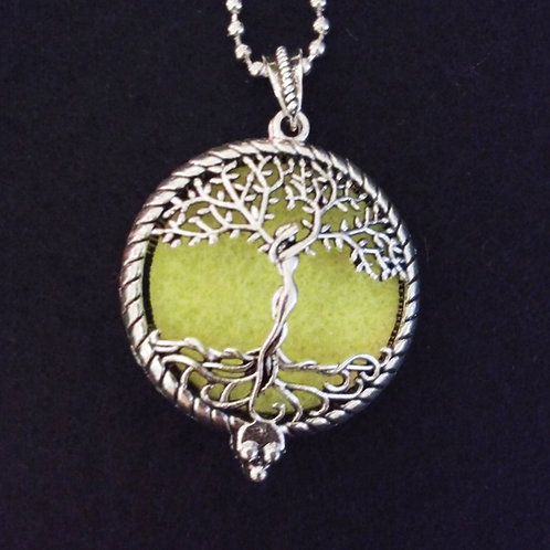 Tree Of Life embossed silver aromatherapy necklace