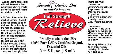 Label 15 ml relieve full strength 2.75 x