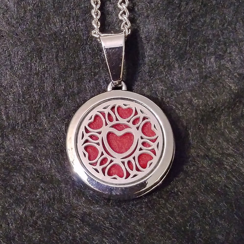 Circle Heart silver mini aromatherapy necklace