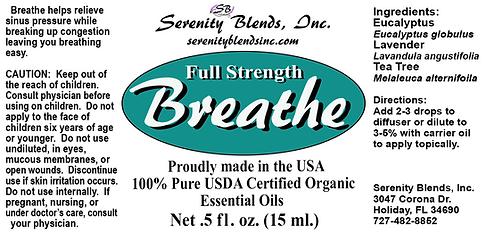 Label 15 ml breath full strength 2.75 x