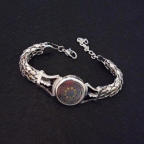 Sunburst silver vintage band aromatherapy bracelet
