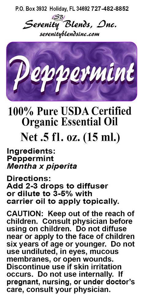 Label 15 ml label Peppermint 2.75 x 1.31