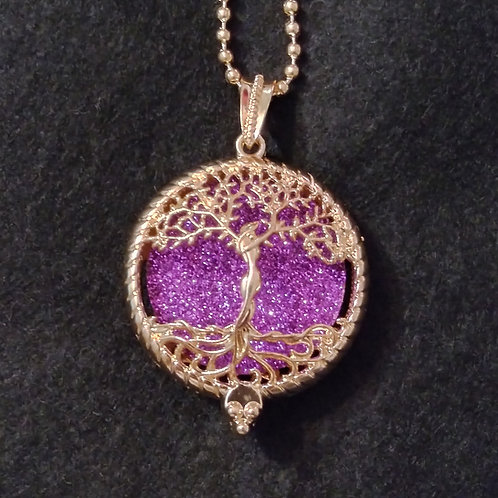 Tree Of Life embossed rose gold aromatherapy necklace