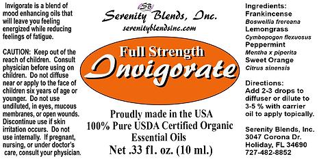 Label 10 ml invigorate full strength 2.5