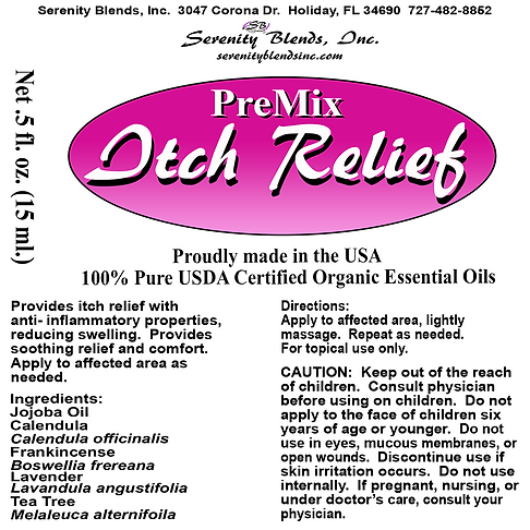 Label 15 ml roller itch relief 2.5 x 2.5