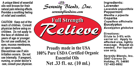 Label 10 ml relieve full strength 2.5 x