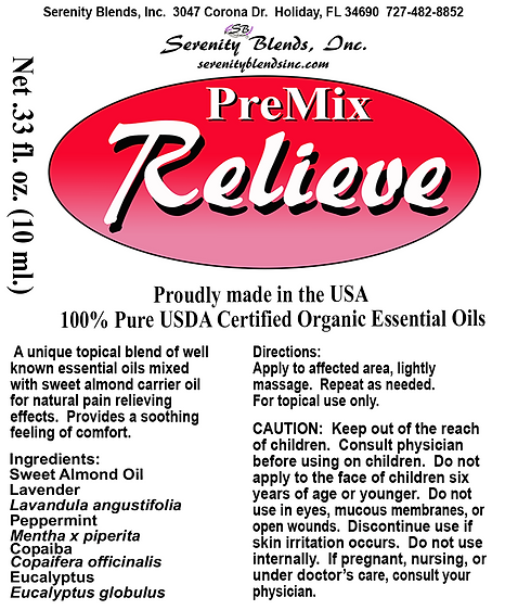 Label 10 ml roller relieve premix 2.1875