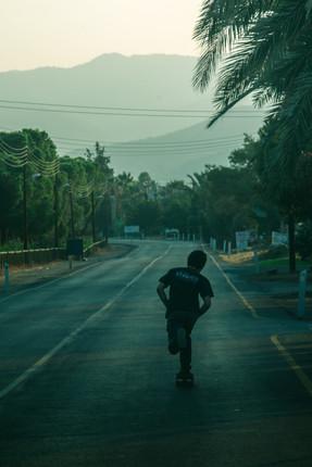 Timmy cruising on empty roads during sunrise