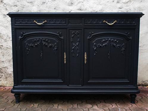 Superbe Buffet Ancien de Style Louis XVI Noir - ALBEN168