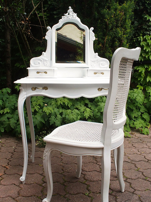 Coiffeuse & Chaise Anciennes de Style Louis XV Blanches - ALBEN168