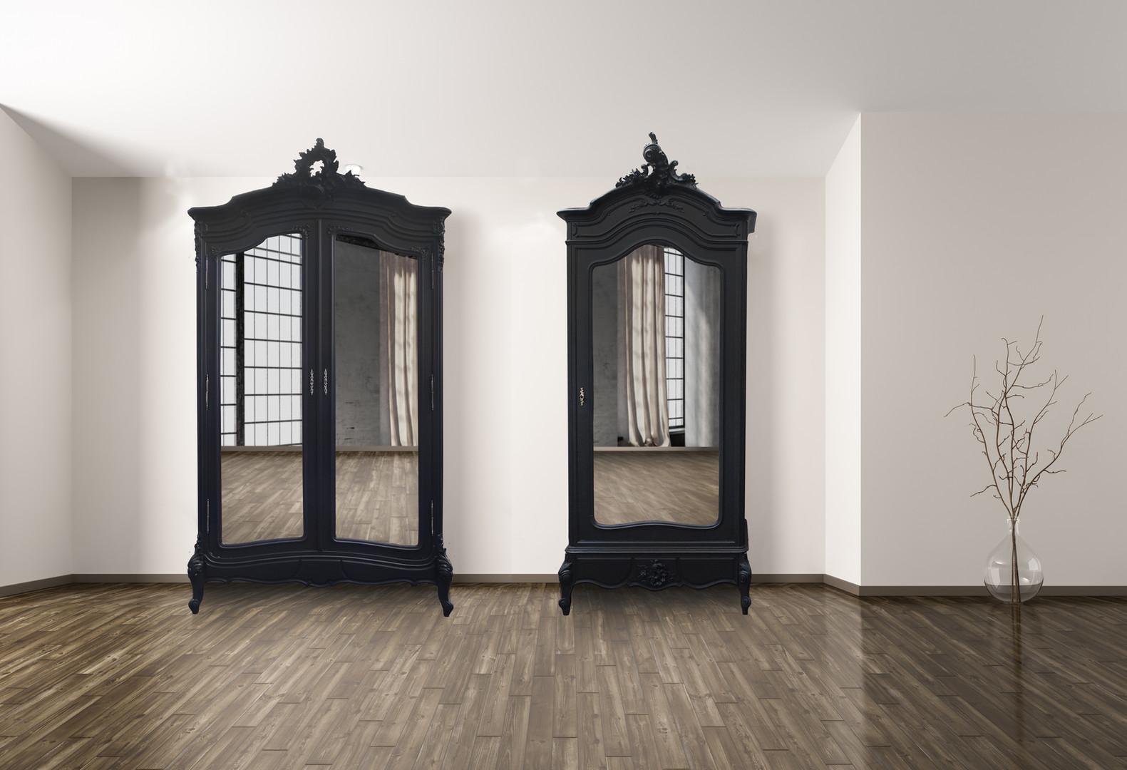 Armoire & bonnetière Louis XV noires