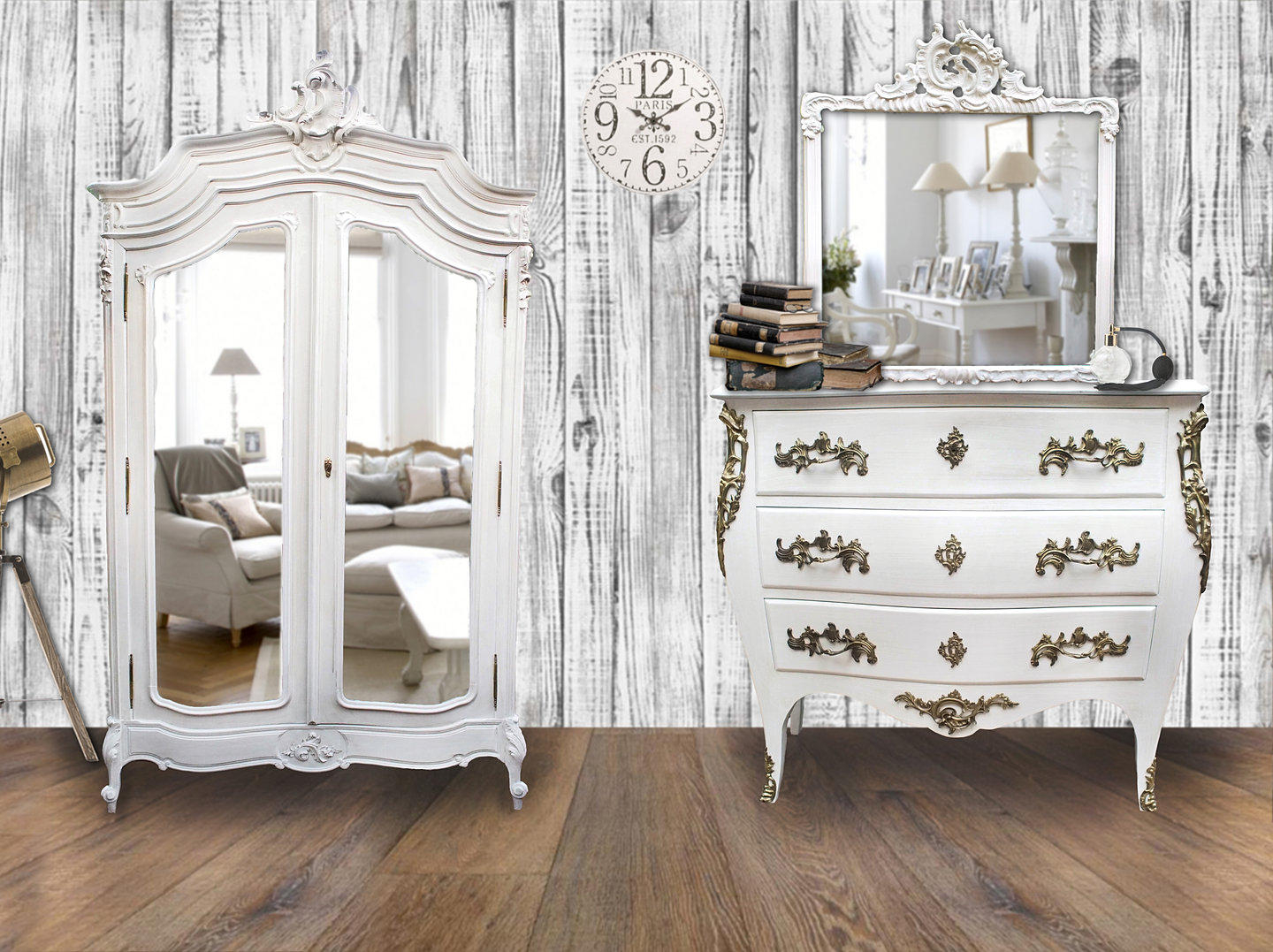 les meubles patin s paris alben168 louis xv baroque peint blanc. Black Bedroom Furniture Sets. Home Design Ideas