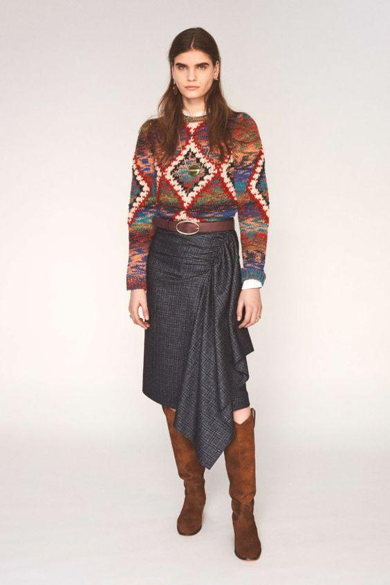 теплый свитер, стильный свитер, современный свитер, заправленный свитер