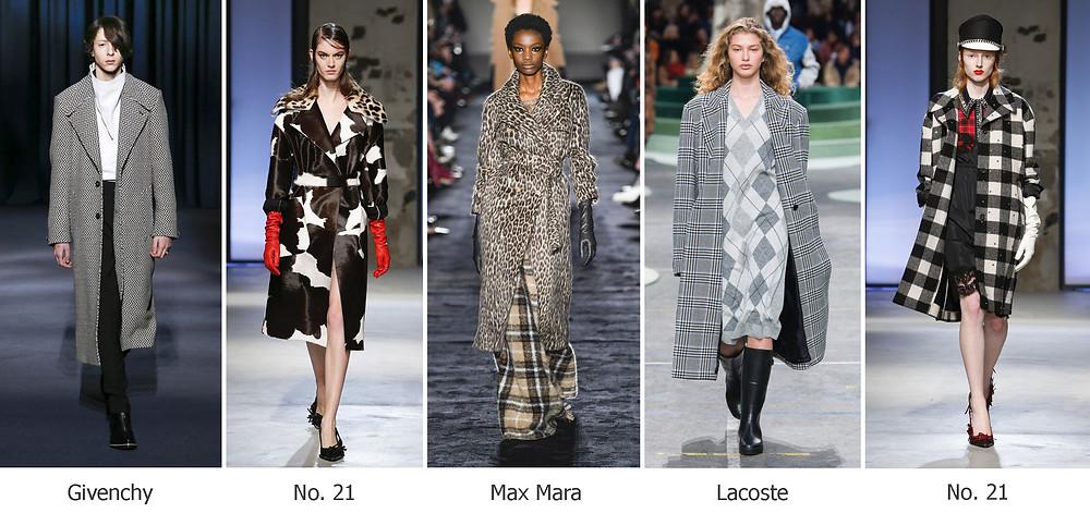 тренды сезона, осень зима 2018, модные принты, пальто