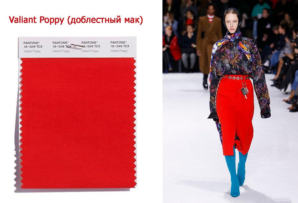 доблестный мак, модный цвет, тренды осень зима 2018/2019
