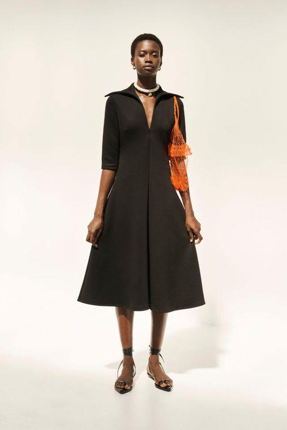 колор блокинг, черное платье, яркая сумка, стильная обувь