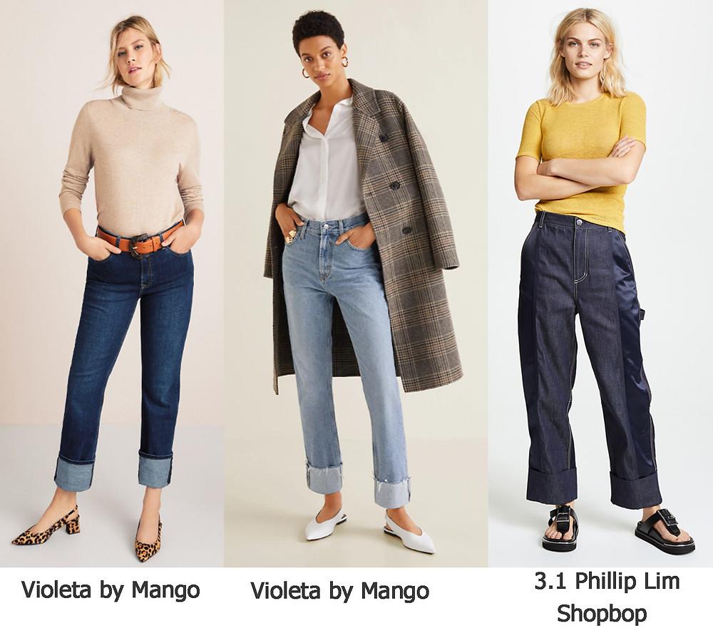 джинсы с манжетами, джинсы манго