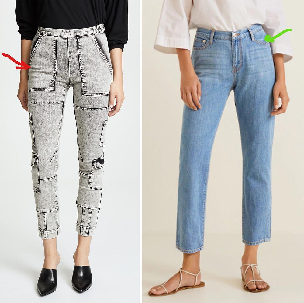 боковые карманы на джинсах, правильные карманы на джинсах
