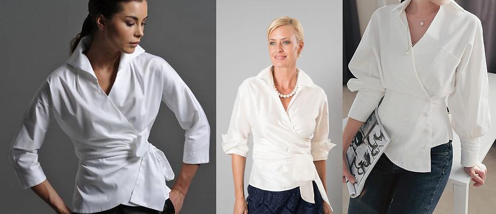белая рубашка, стильная рубашка, приталенная рубашка, асимметричная рубашка