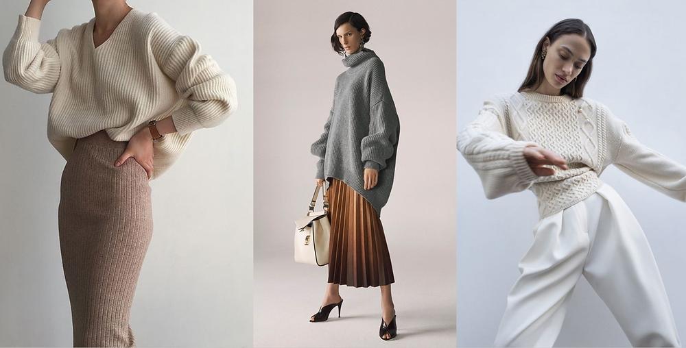 оверсайз, современный стиль, женский стиль, свитер, тренд