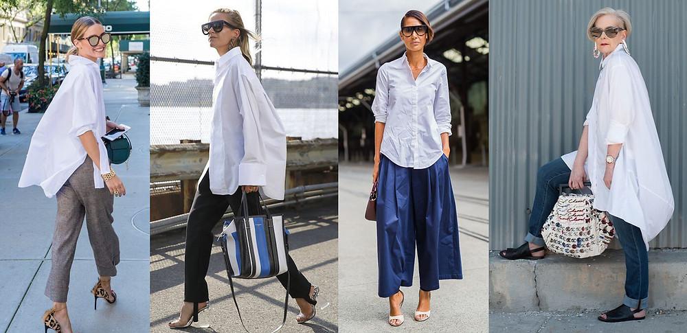 белая рубашка, свободная рубашка, рубашка прямого кроя, как носить белую рубашку, белая рубашка с джинсами и брюками, рубашка навыпуск