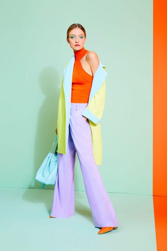 колор блокинг, блог о стиле, оранжевый топ, сиреневые брюки