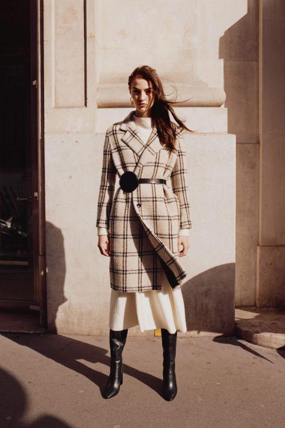 тренды сезона осень зима 2019 2020, модные принты, клетка, принт клетка, пальто в клетку